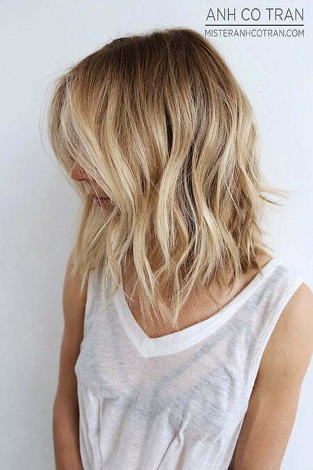 Blonde Choppy Lob Color