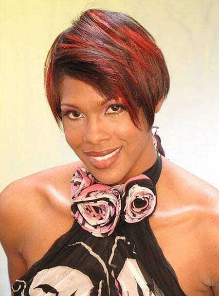 Red Hair Color, Short Black Women Wig