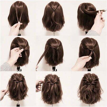 Half Up Hairtyle for Short Hair, Short Up Layers Ideas