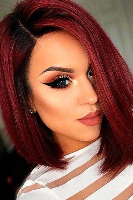 Bob Hair, Color Red Makeup Jaclyn