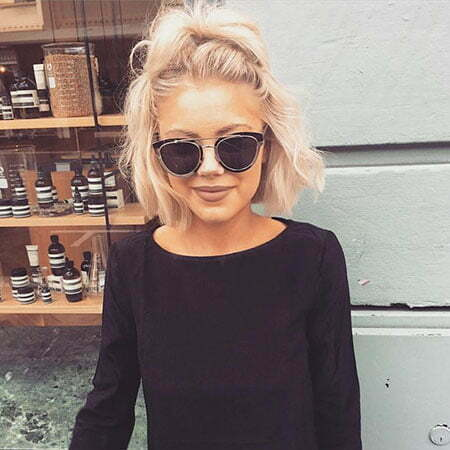 Blonde Hairtyle with Sunglasses, Stone Short Jade Blonde